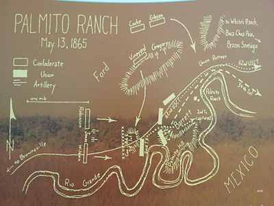 Sketch map of battle - Battle of Palmito Ranch